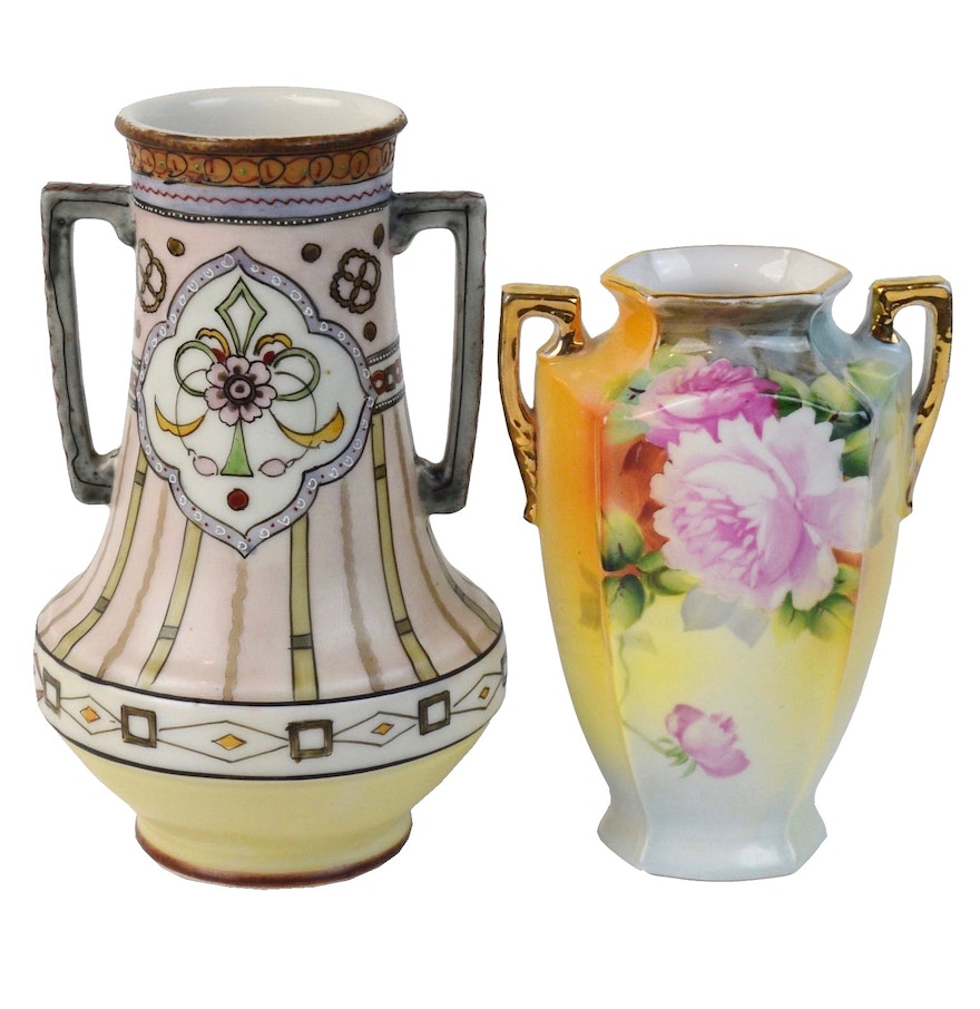 Hand painted nippon vases ebth hand painted nippon vases reviewsmspy