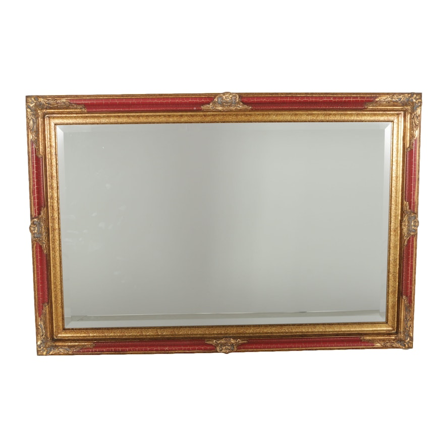 Large Red And Gold Tone Wall Mirror Ebth