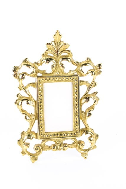 Antique style ornate brass picture frames ebth for Small vintage style picture frames