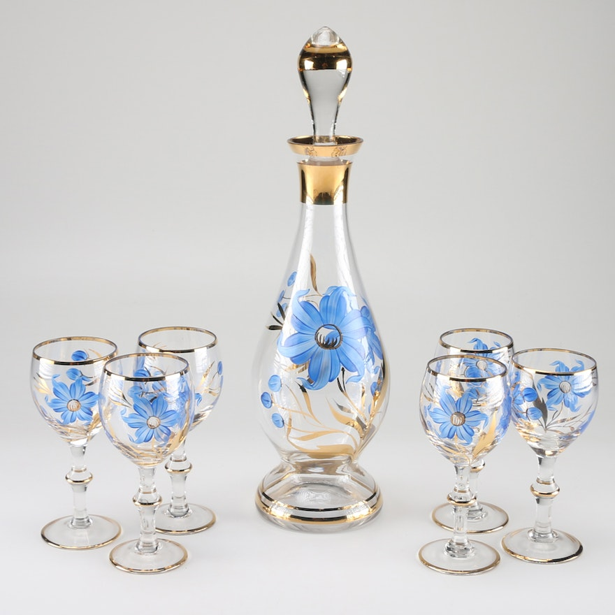 Hand Painted Floral Decanter And Wine Glasses Ebth