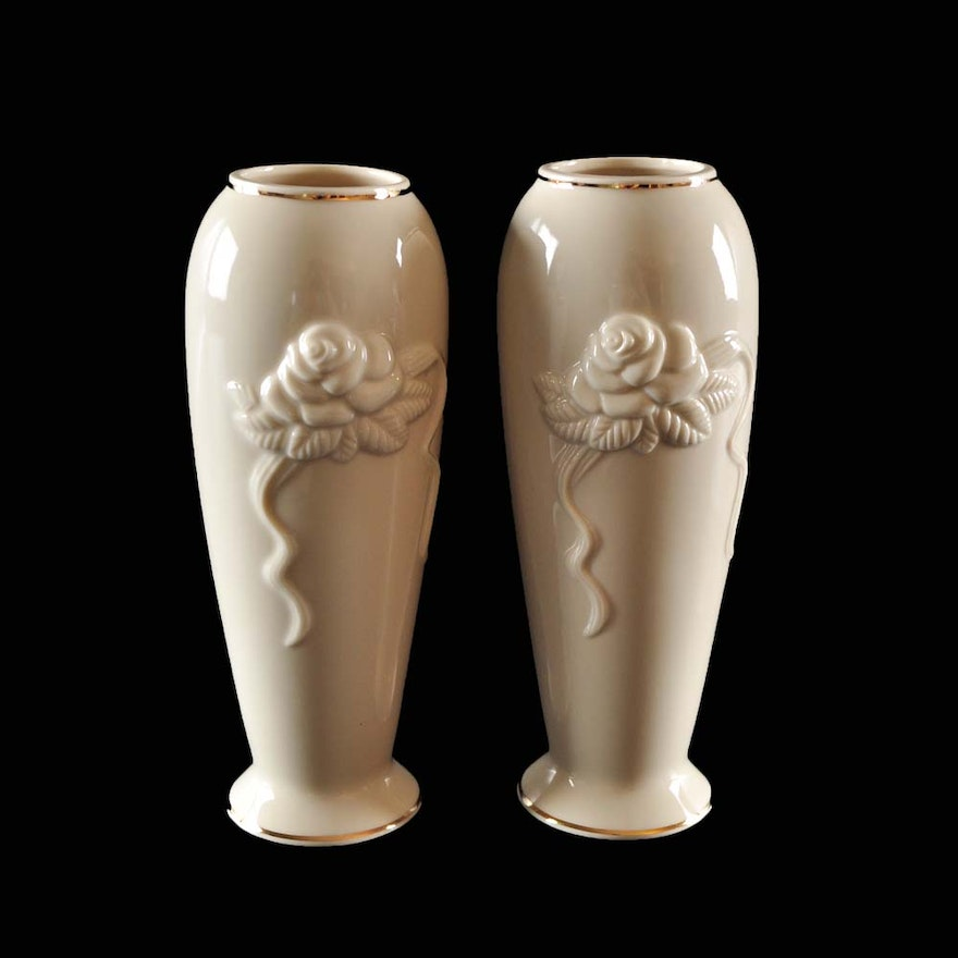 Pair Of Lenox Rose Blossom Vases With 24 K Gold Trim Ebth