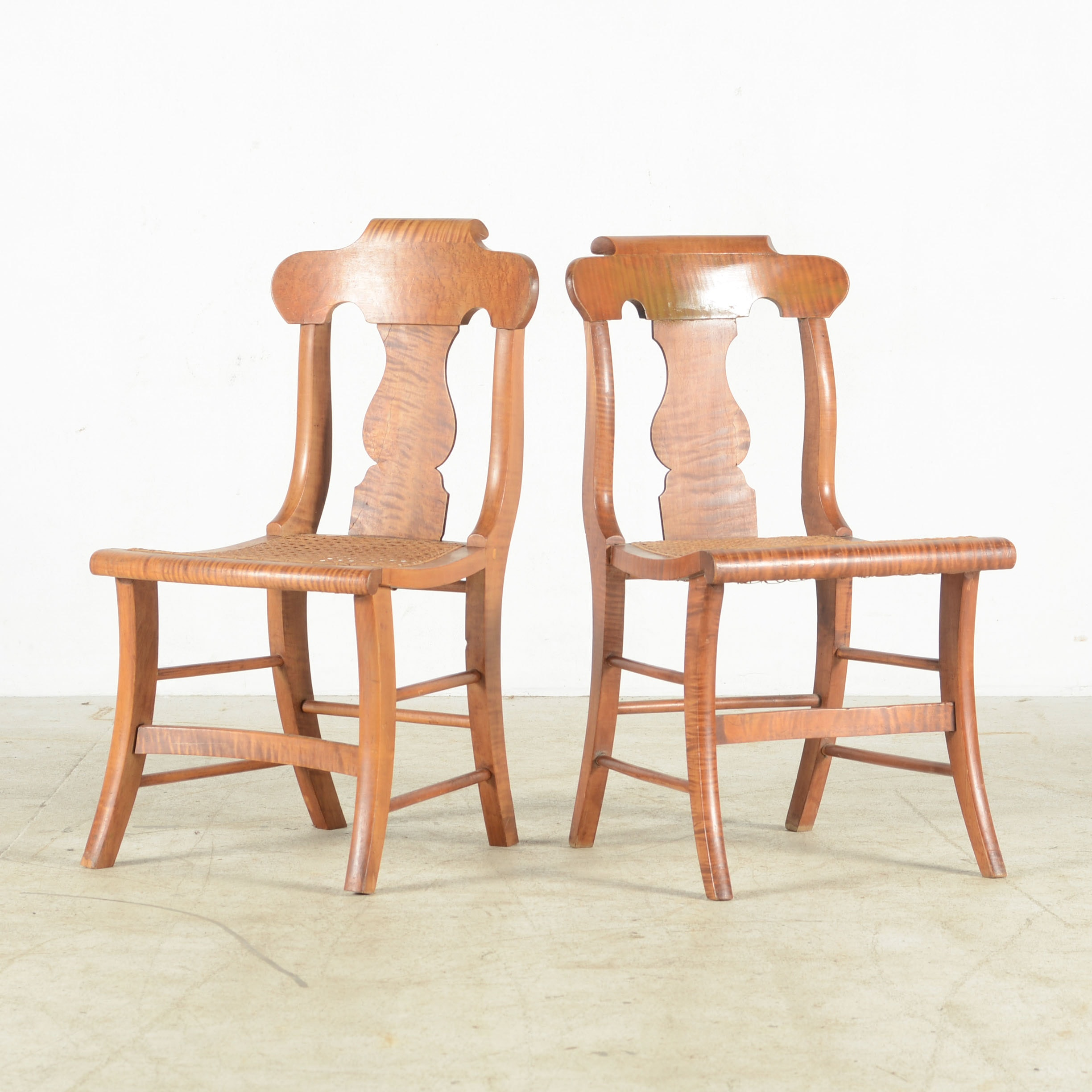 Birdseye Maple Side Chairs With Fiddle Backs And Cane Seat