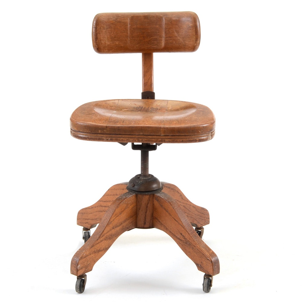 Vintage Oak Swivel Desk Chair ...  sc 1 st  Everything But The House & Vintage Oak Swivel Desk Chair : EBTH