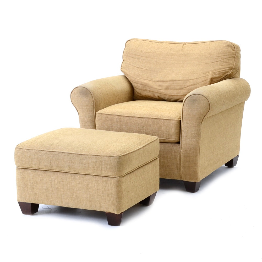 Bassett Furniture Tan Chenille Chair And Ottoman ...