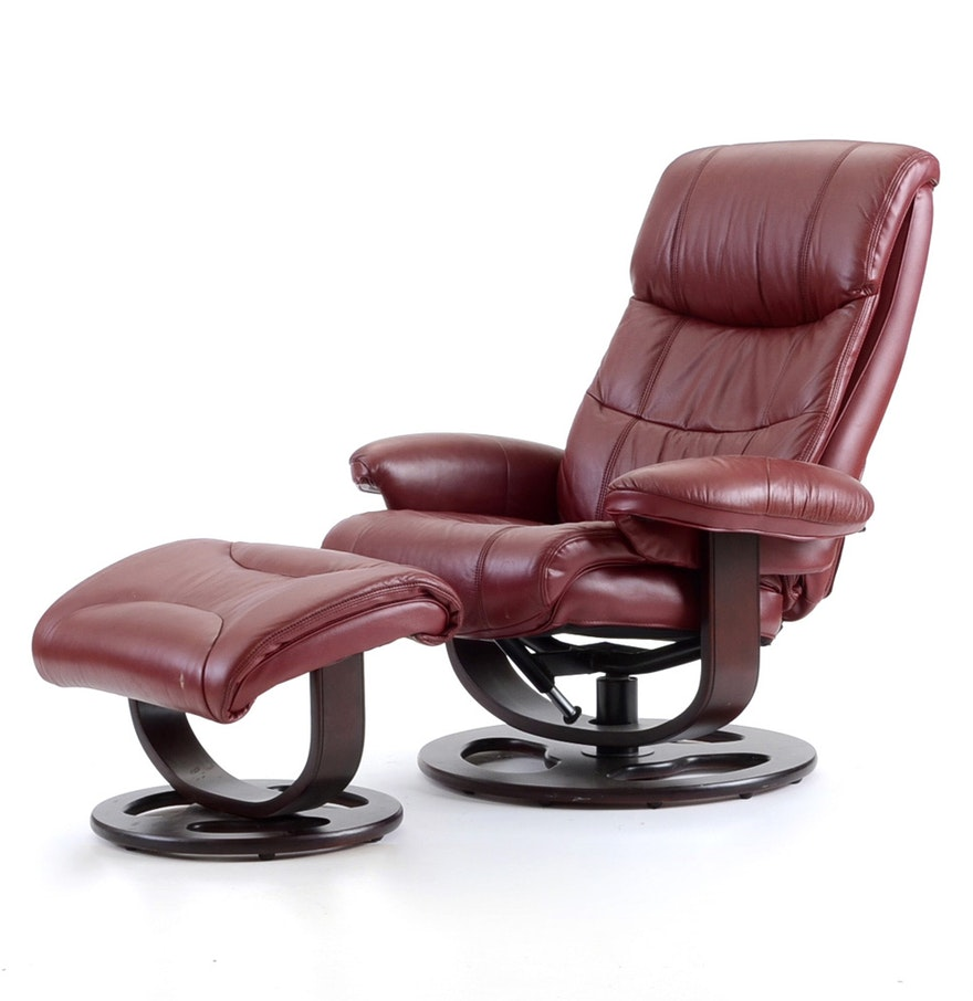 lane furniture maroon rebel recliner chair with ottoman