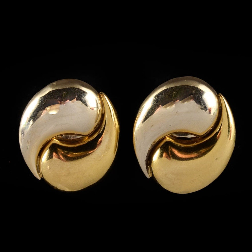aafcba0d8 Pair of Artlinea 18K Two Tone Gold Hollowware Omega Back Pierced Earrings  ...