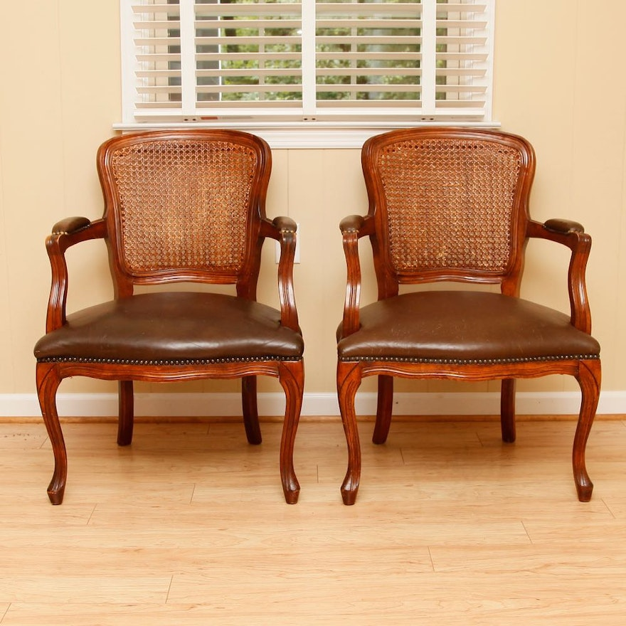 Pair Of Burke Furniture Cane Chairs Ebth