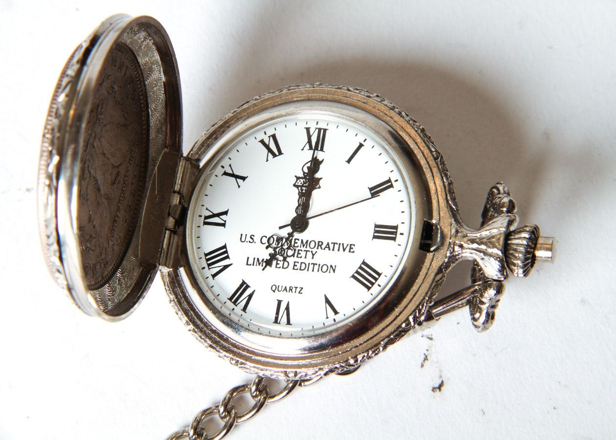 U S Commemorative 1921 Morgan Silver Dollar Pocket Watch