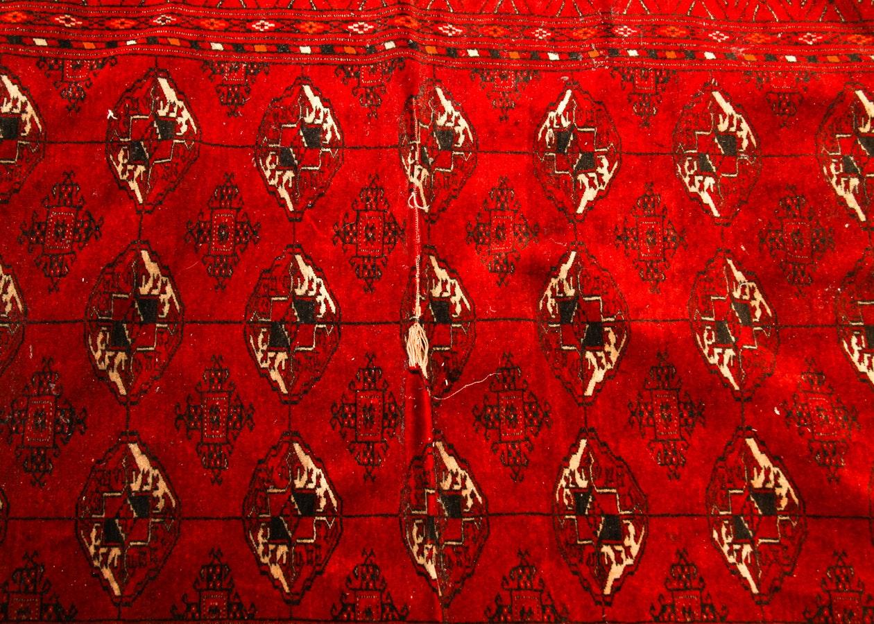 Vintage Handwoven Turkmen Ersari Bokhara Area Rug Ebth
