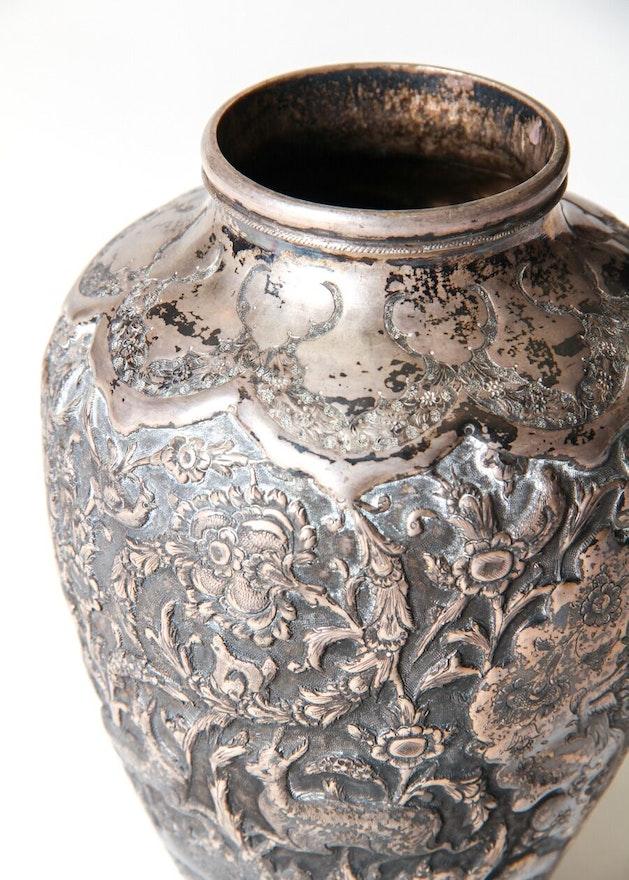 Antique Persian .875 Silver Repousse Vase   EBTH