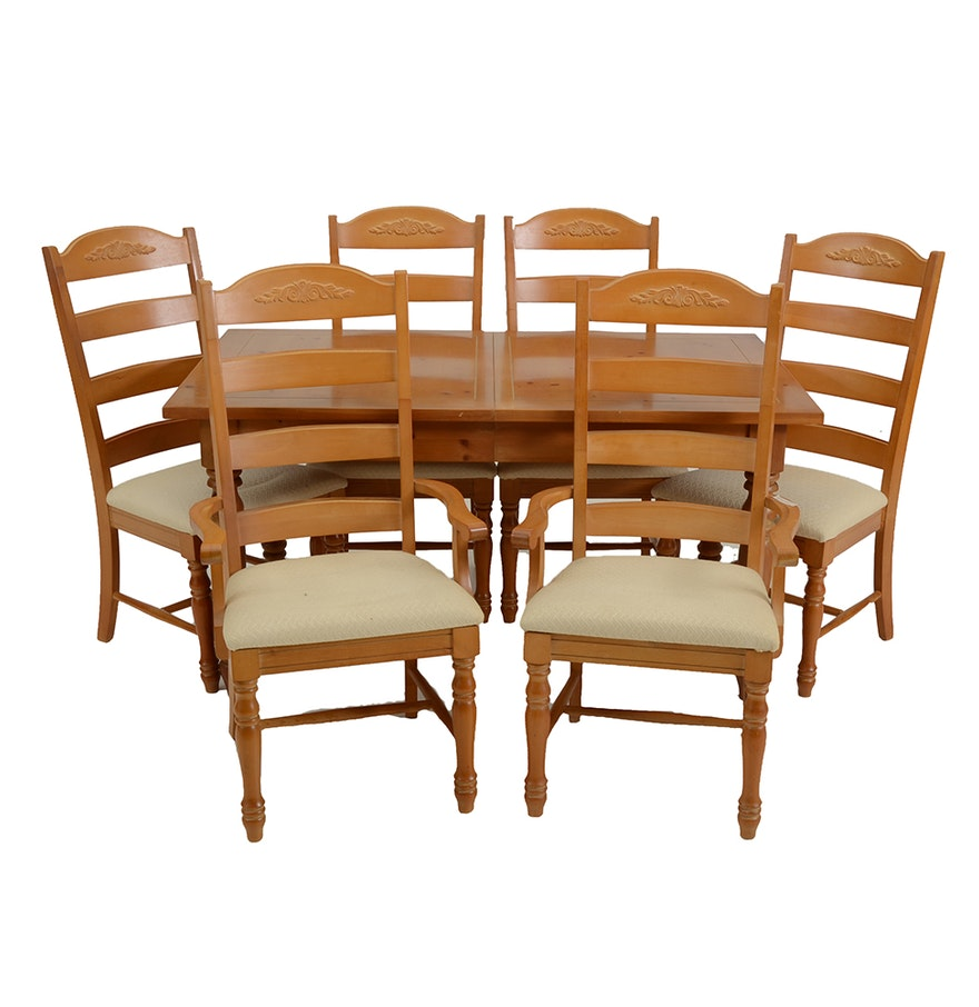 Pine Dining Table With Two Leaves And Six Chairs Ebth