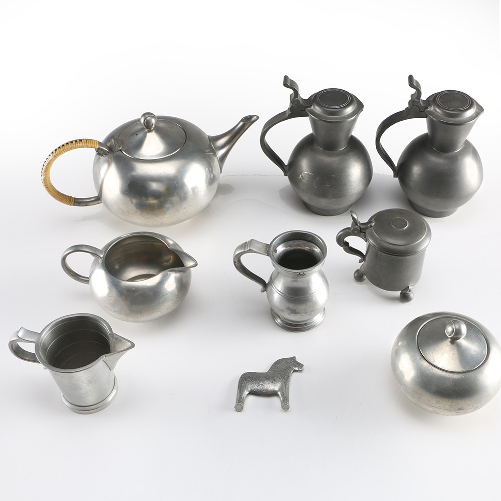 Assortment Of Pewter Tableware And Pewter Horse ...