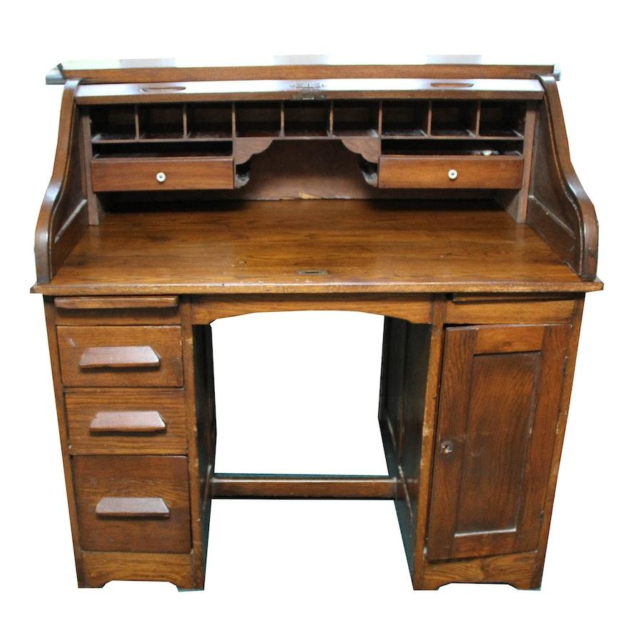 Antique Roll Top Walnut Desk ... - Antique Roll Top Walnut Desk : EBTH