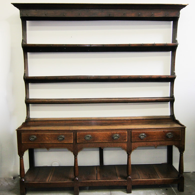 Antique English Plate Rack u0026 Buffet ... & Antique English Plate Rack u0026 Buffet : EBTH