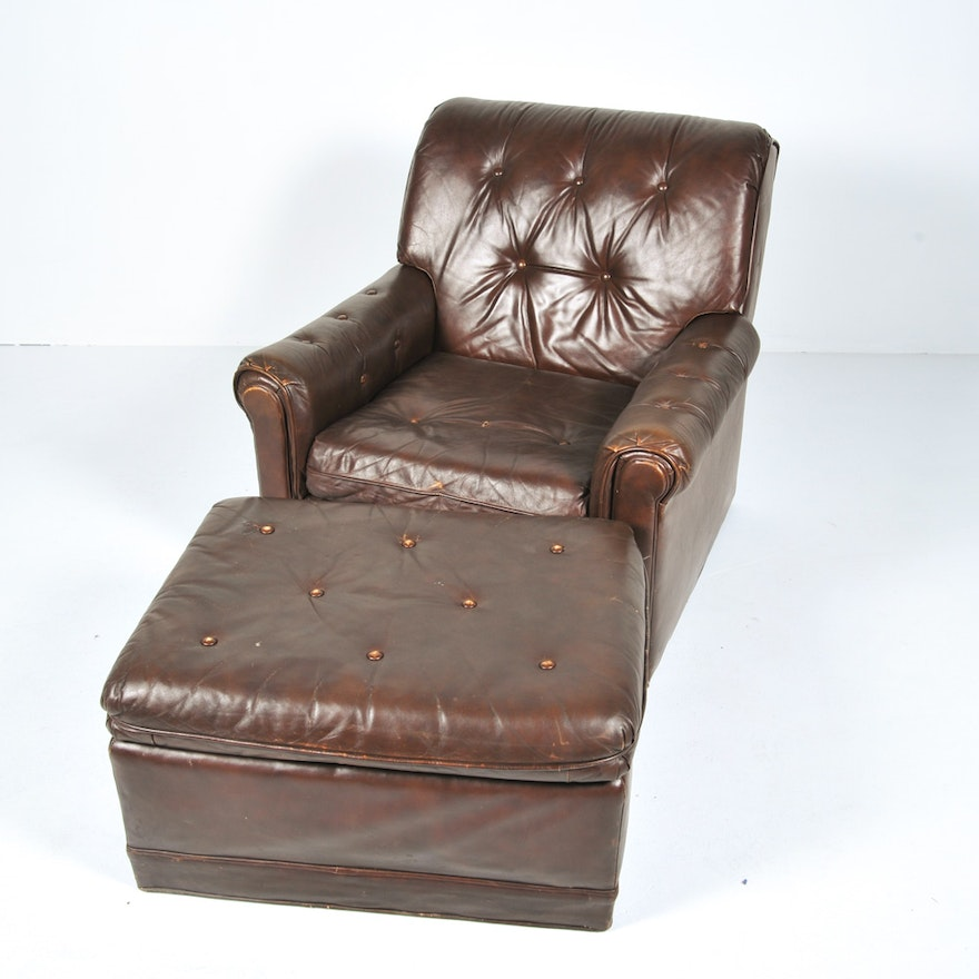 Peachy Vintage Fairfield Chair Co Brown Leather Upholstered Armchair And Ottoman Dailytribune Chair Design For Home Dailytribuneorg