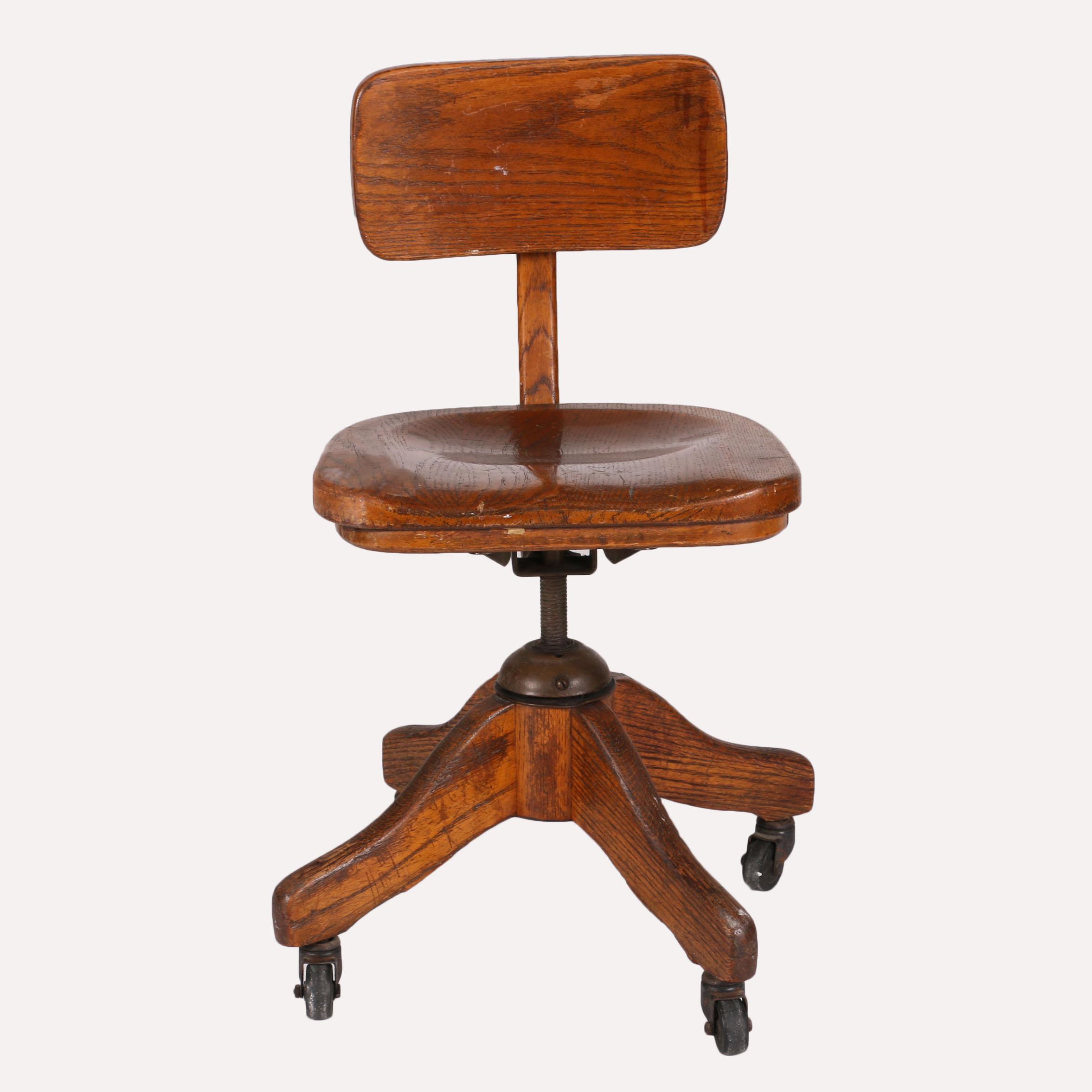 Vintage Wood Rolling Desk Chair EBTH