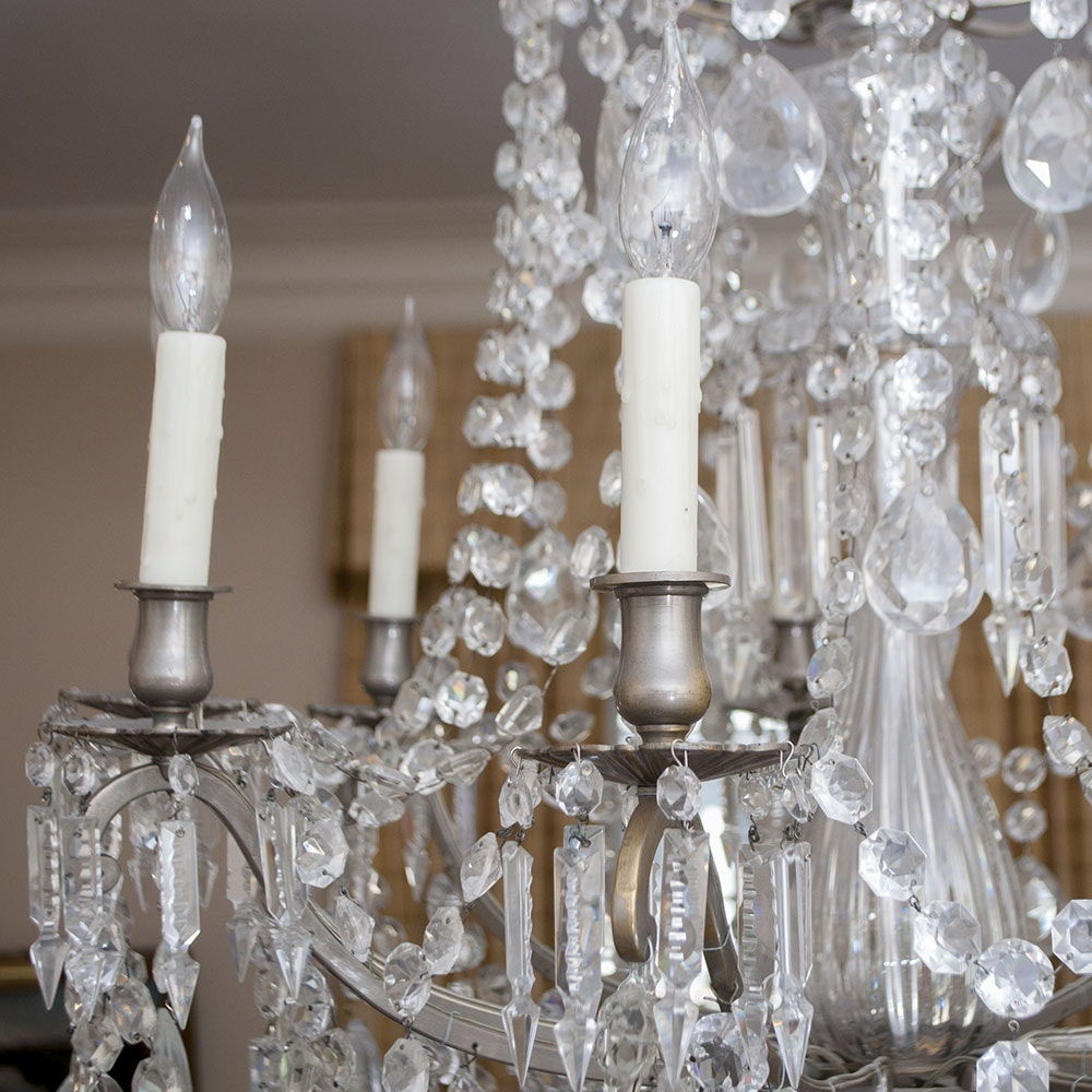 Baccarat Style Vintage Crystal Chandelier Ebth