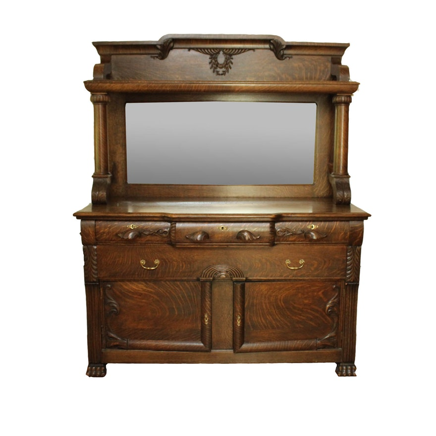 Victorian Oak Dresser With Mirror on Lexington Victorian Sampler Collection