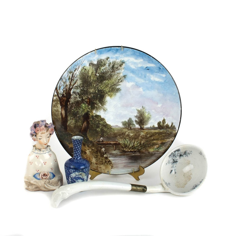 Collected antique decorative hand painted porcelain pieces for Antique decoration pieces