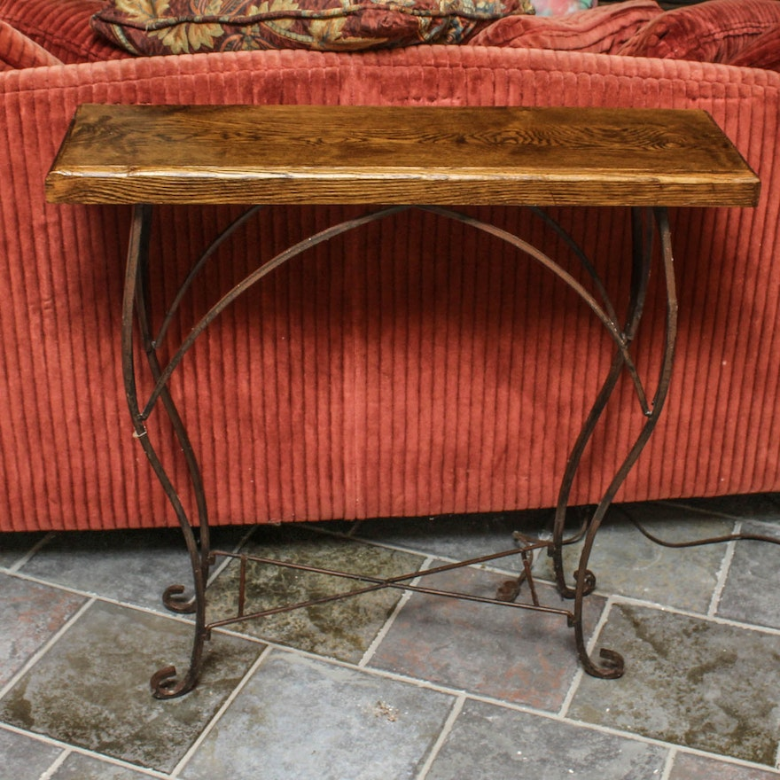 Rustic Iron Console Table ~ Rustic wood and wrought iron console table ebth