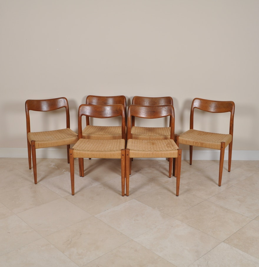 danish modern dining chairs in the style of niels moller ebth