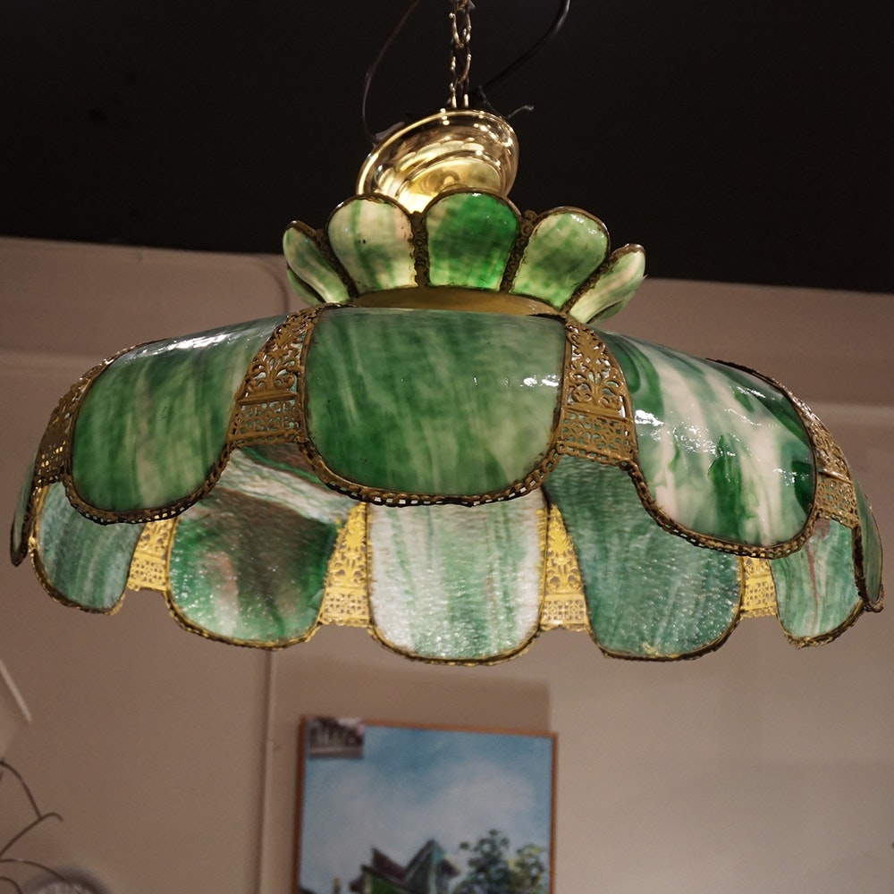 Vintage Green Glass Light Fixture: Vintage Green Slag Glass Hanging Light Fixture : EBTH