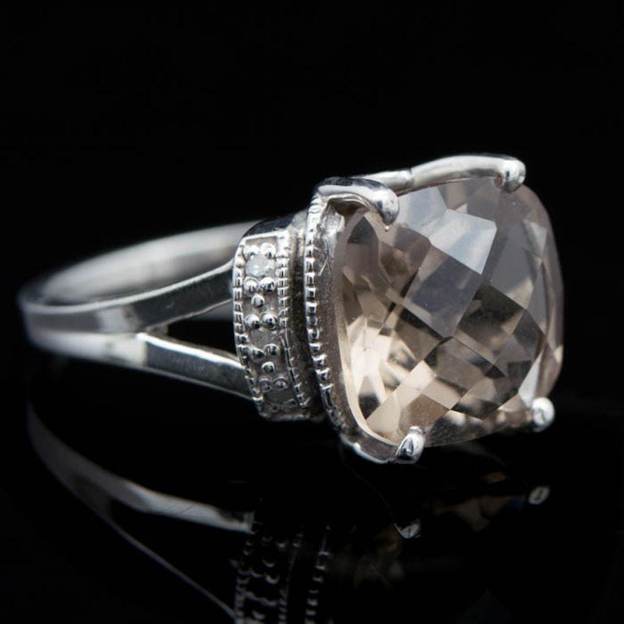 KGM Sterling Silver Smoky Quartz And Diamond Ring EBTH