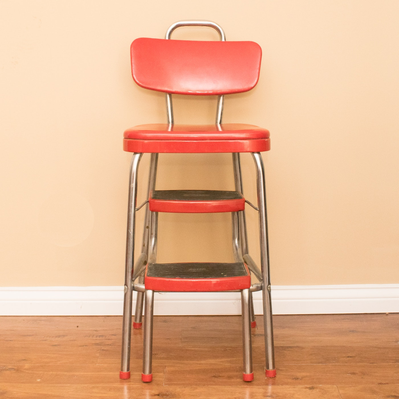 vintage red cosco step stool chair ebth