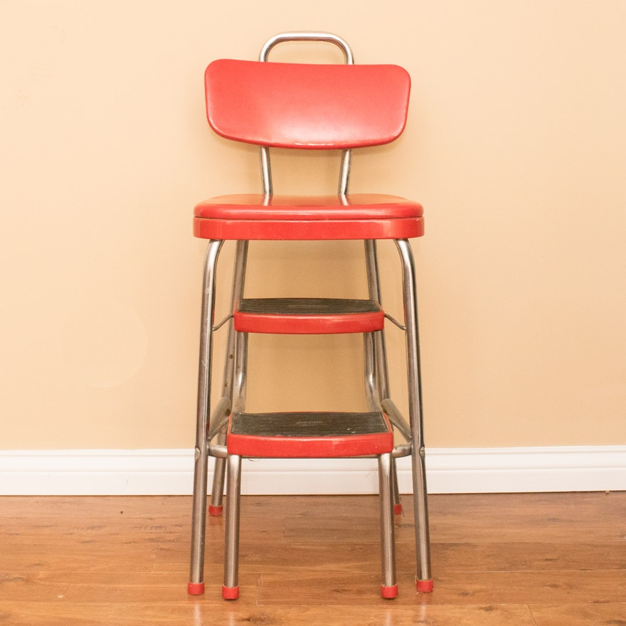 Fine Vintage Red Cosco Step Stool Chair Gmtry Best Dining Table And Chair Ideas Images Gmtryco