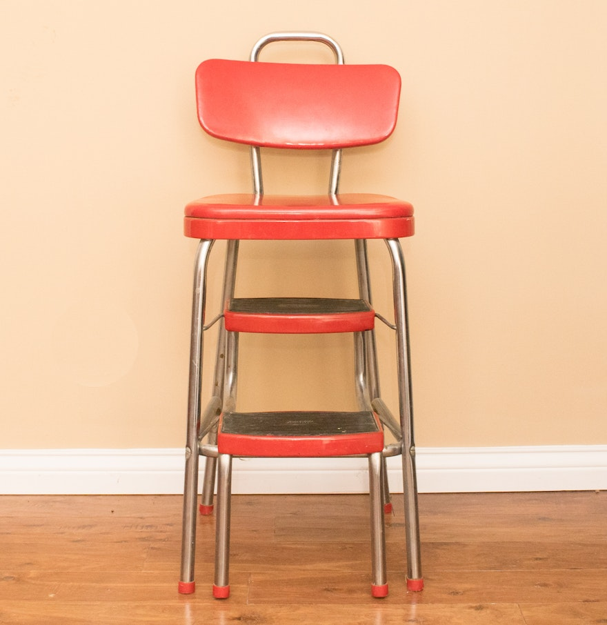 vintage red cosco step stool chair ebth. Black Bedroom Furniture Sets. Home Design Ideas