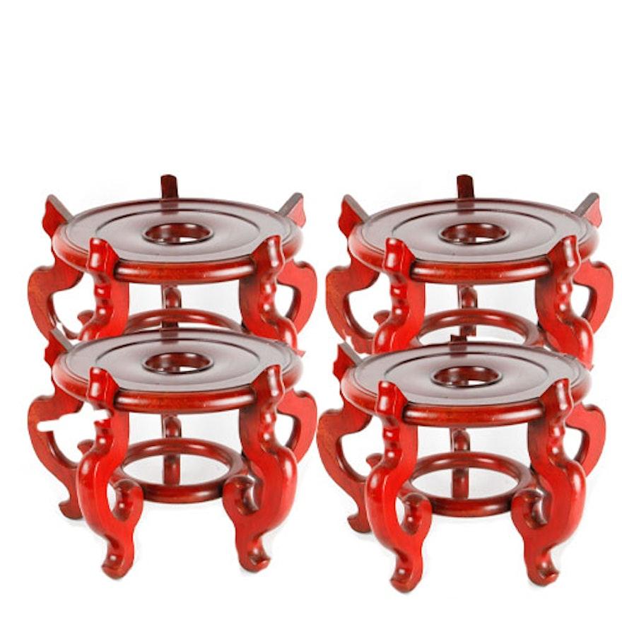 Set Of Four Wooden Vase Stands Ebth