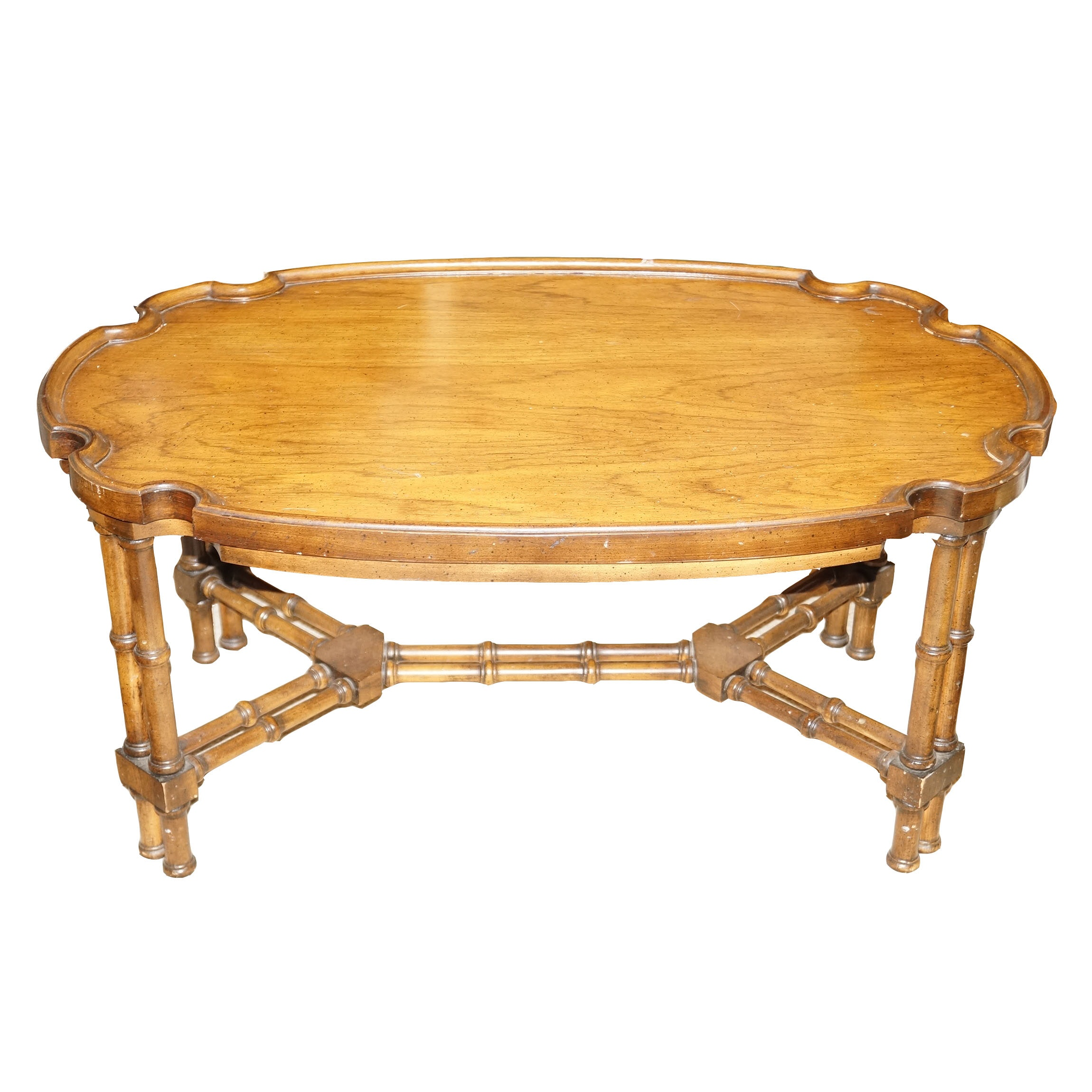 Scalloped Oak Top Coffee Table
