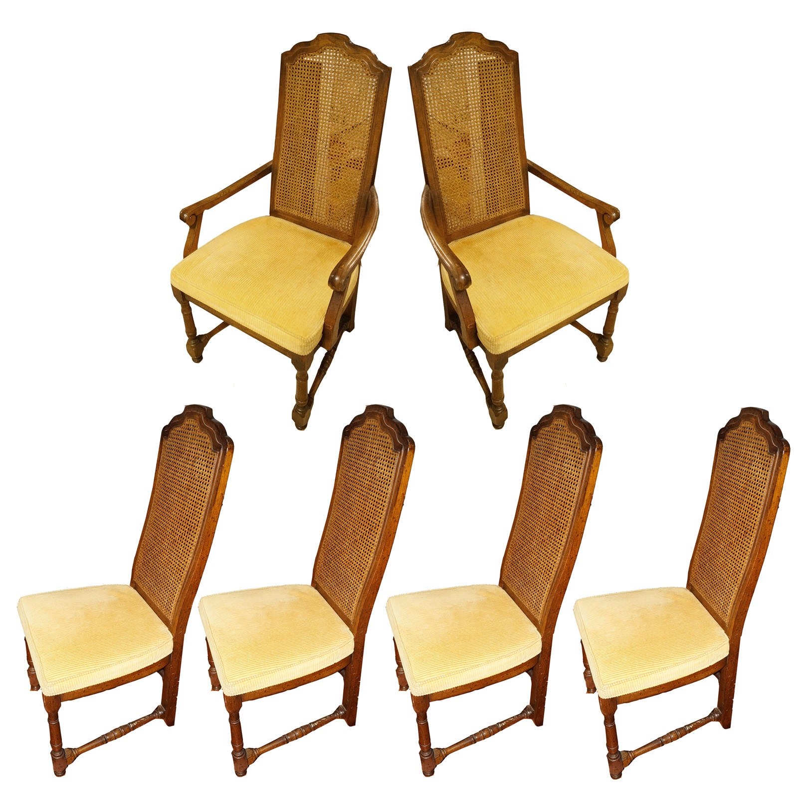 Drexel Heritage Cane Back Dining Chairs with Extra Cushions