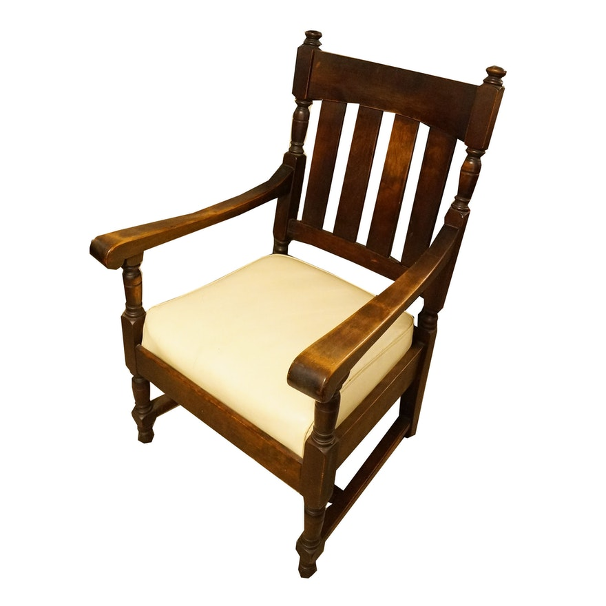 Antique Wooden Chair With Arms : EBTH