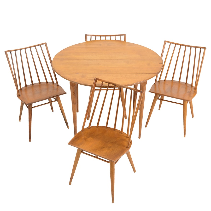 Maple Wood Dining Table And Chairs By Russel Wright For Conant Ball Ebth