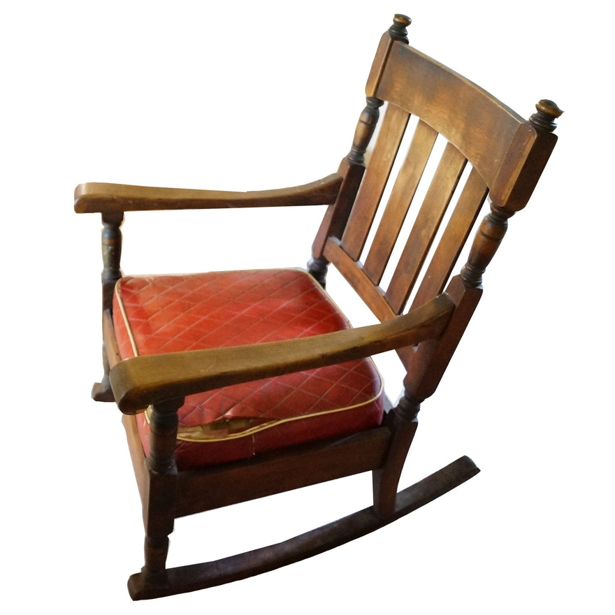 Antique Wood Rocking Chair with Red Cushion ... - Antique Wood Rocking Chair With Red Cushion : EBTH