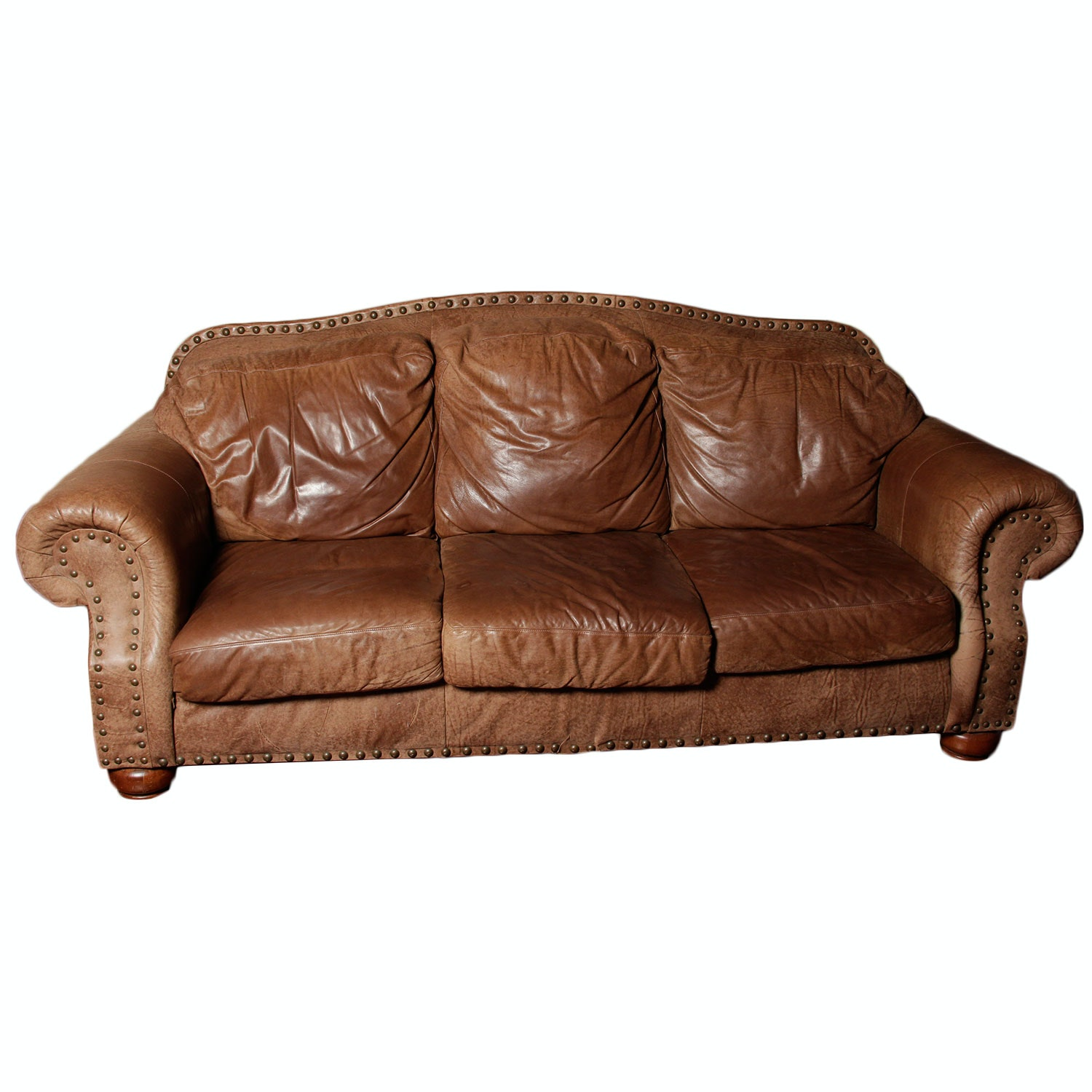 Flexsteel Nubuck Leather Couch : Ebth
