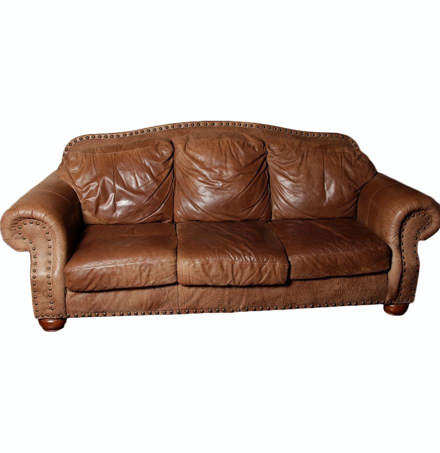 Flexsteel Nubuck Leather Couch Ebth