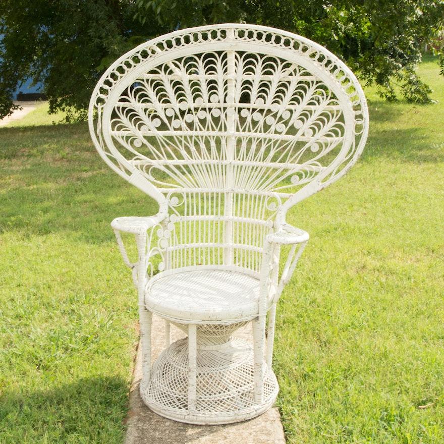 White Wicker Peacock Fan Back Chair Ebth