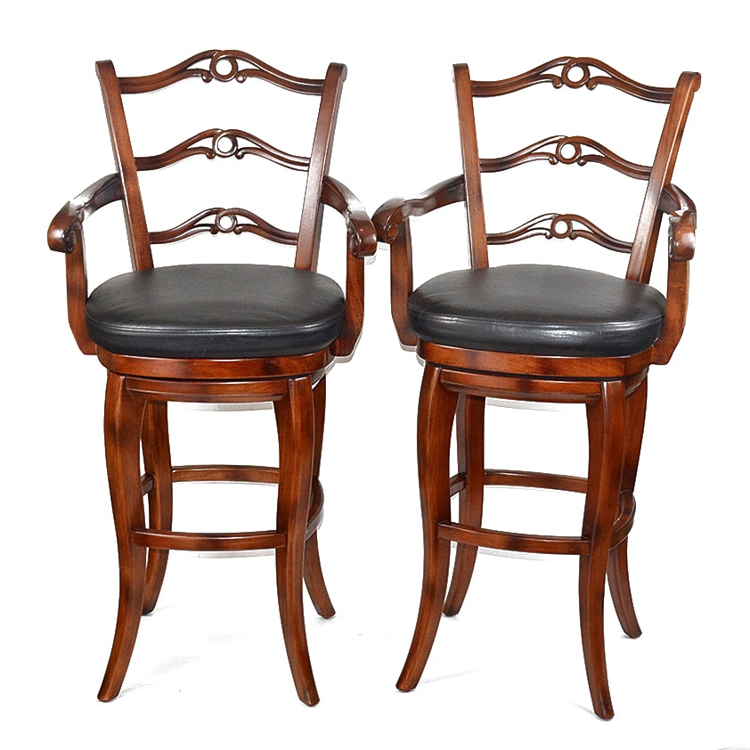 Mahogany and Black Leather Swivel Bar Stool Pair EBTH : DSC8027jpgixlibrb 11 from www.ebth.com size 880 x 906 jpeg 119kB