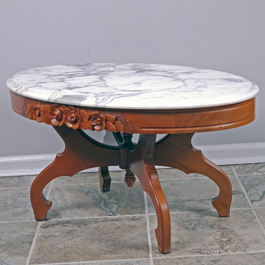 Victorian Style Marble Coffee Table: Marble Top Mahogany Coffee Table By Victorian