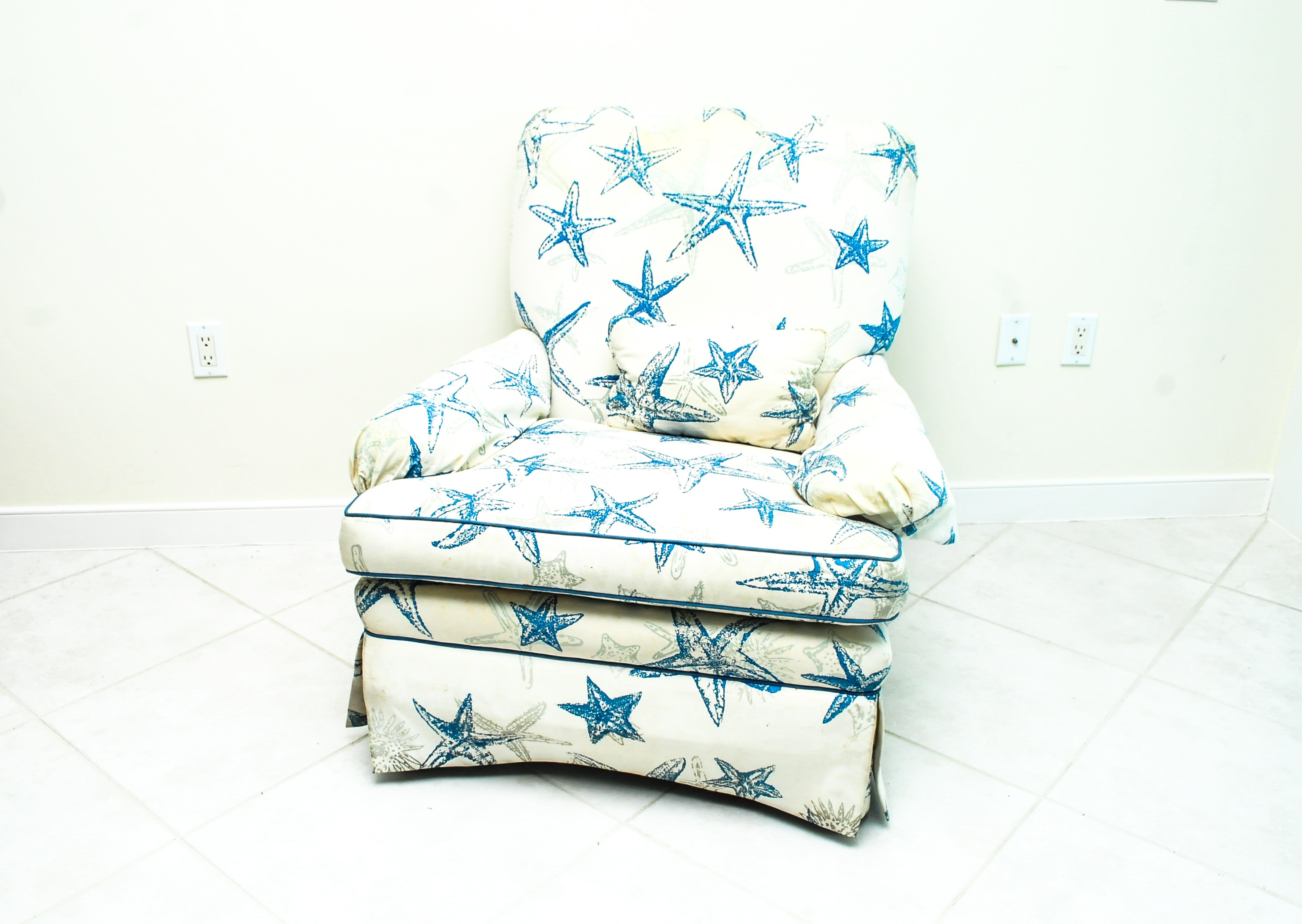 Marvelous Starfish Pattern Upholstered Arm Chair ...