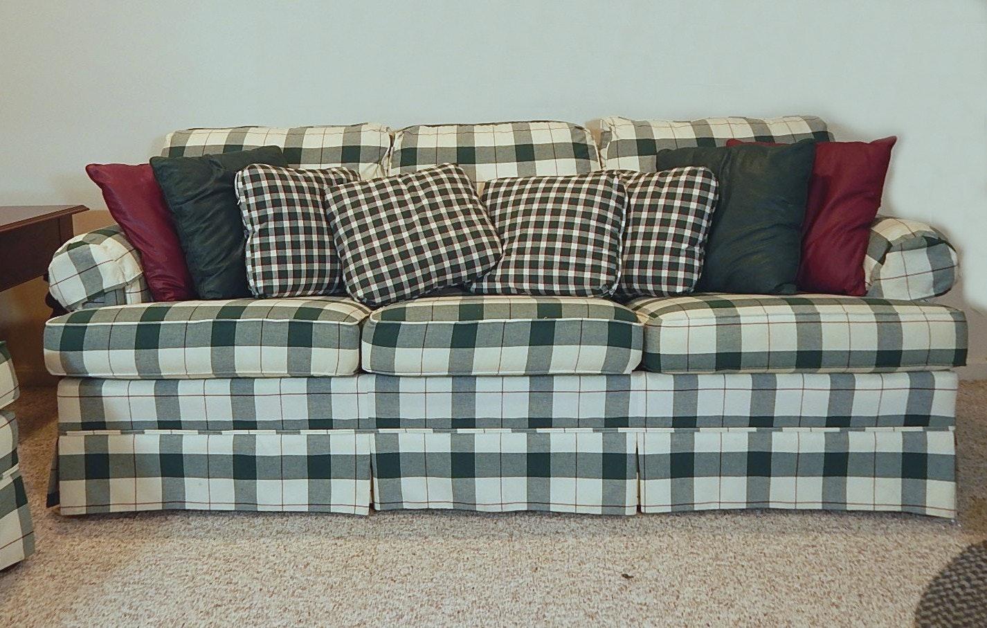 Plaid Sofa broyhill green plaid sofa ebth