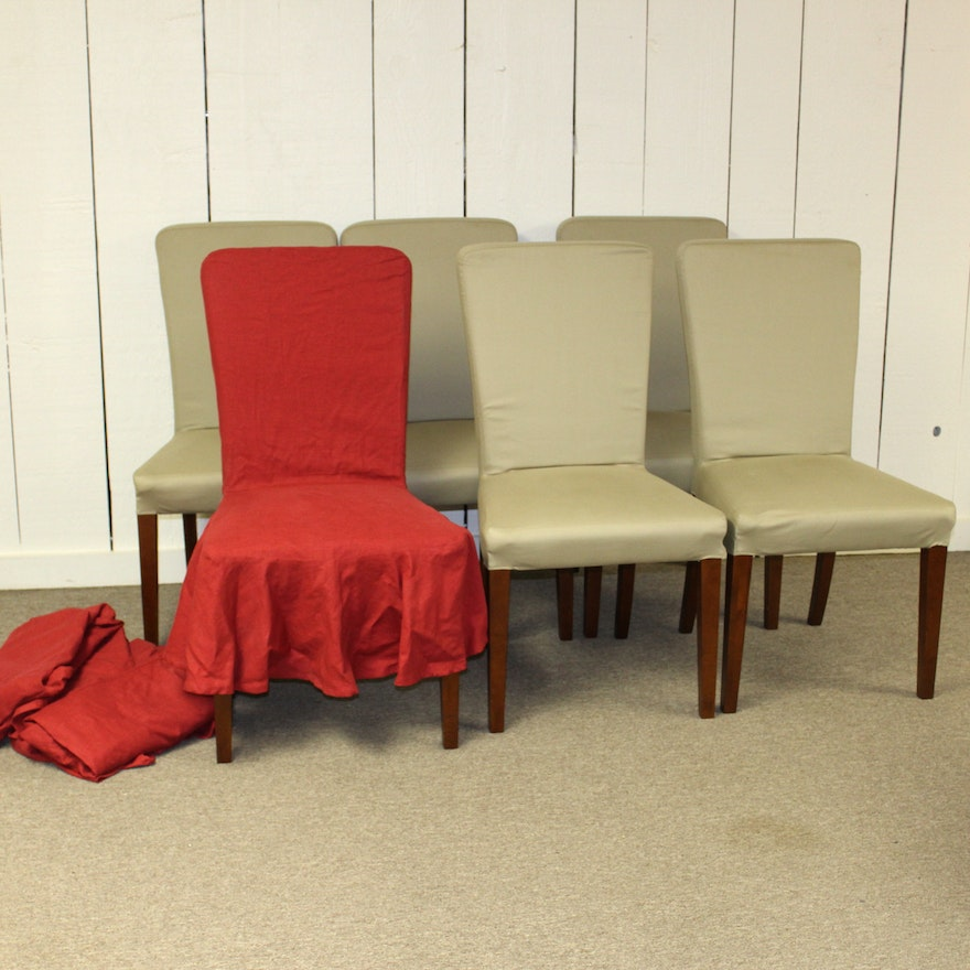 Pottery Barn Megan Slipcover Dining Chairs Ebth