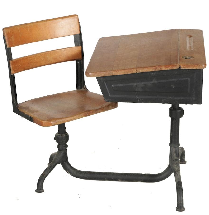 vintage school desk and chair ebth. Black Bedroom Furniture Sets. Home Design Ideas
