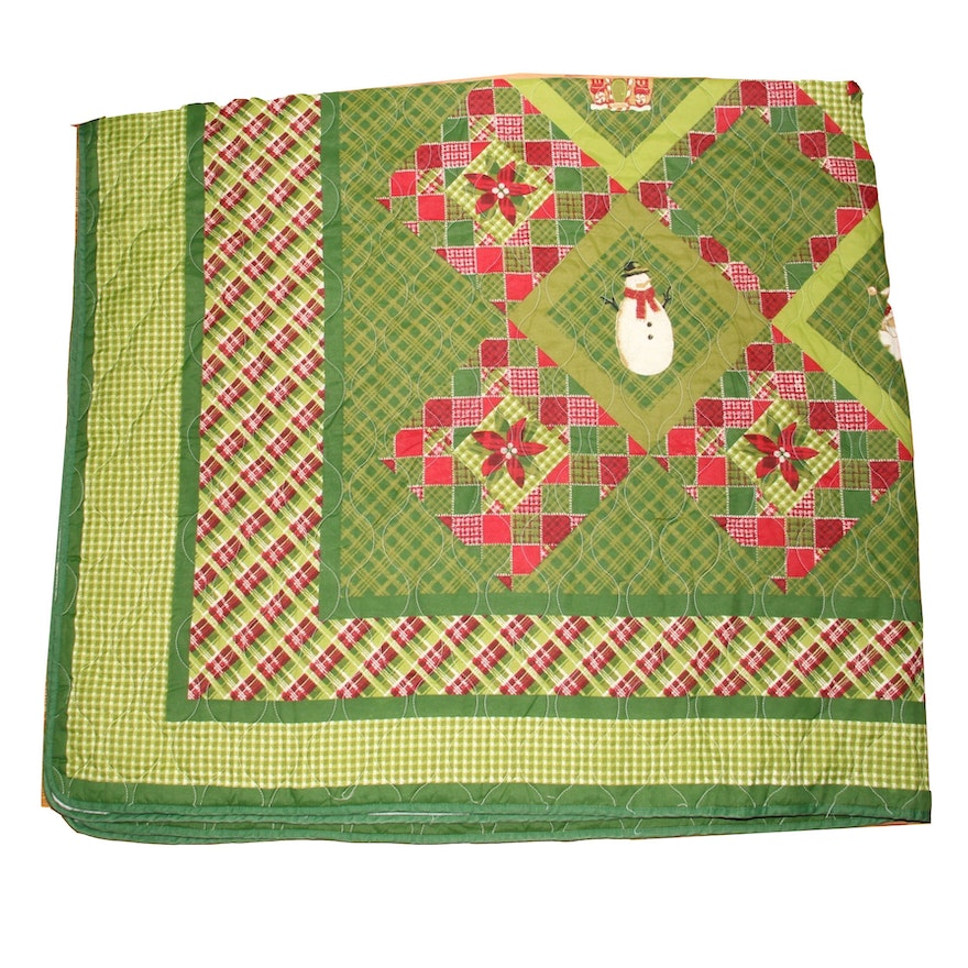 King Size Christmas Quilt in a Patchwork Design : EBTH