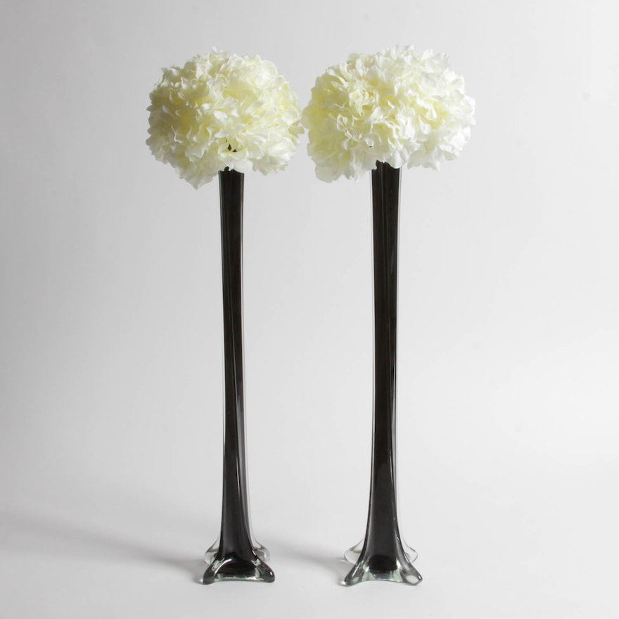 Pair Of Black Glass Stem Vases With Faux Flowers Ebth