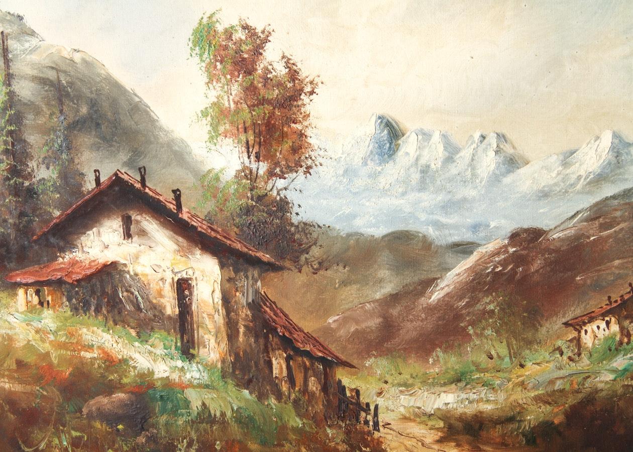 Original Carlo Mancini Italian Countryside Landscape Oil