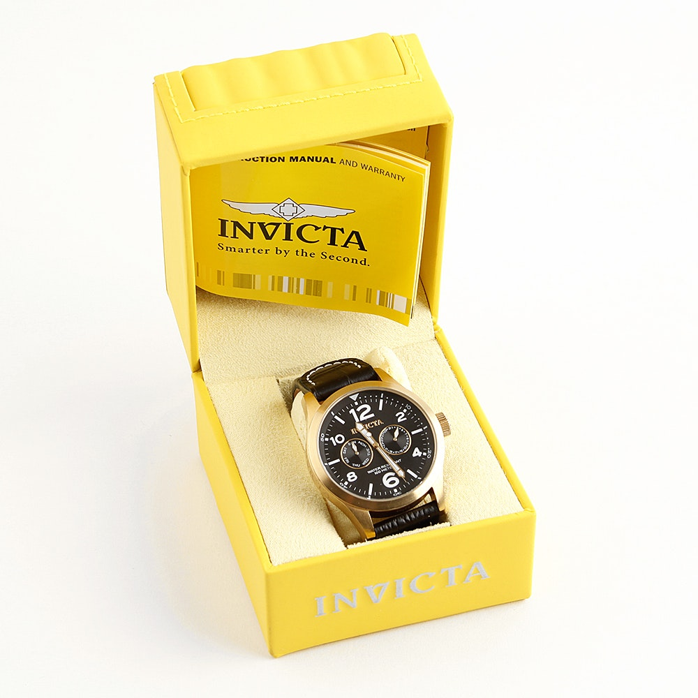 Invicta I-Force Men's Stainless Steel Wristwatch With Leather Band