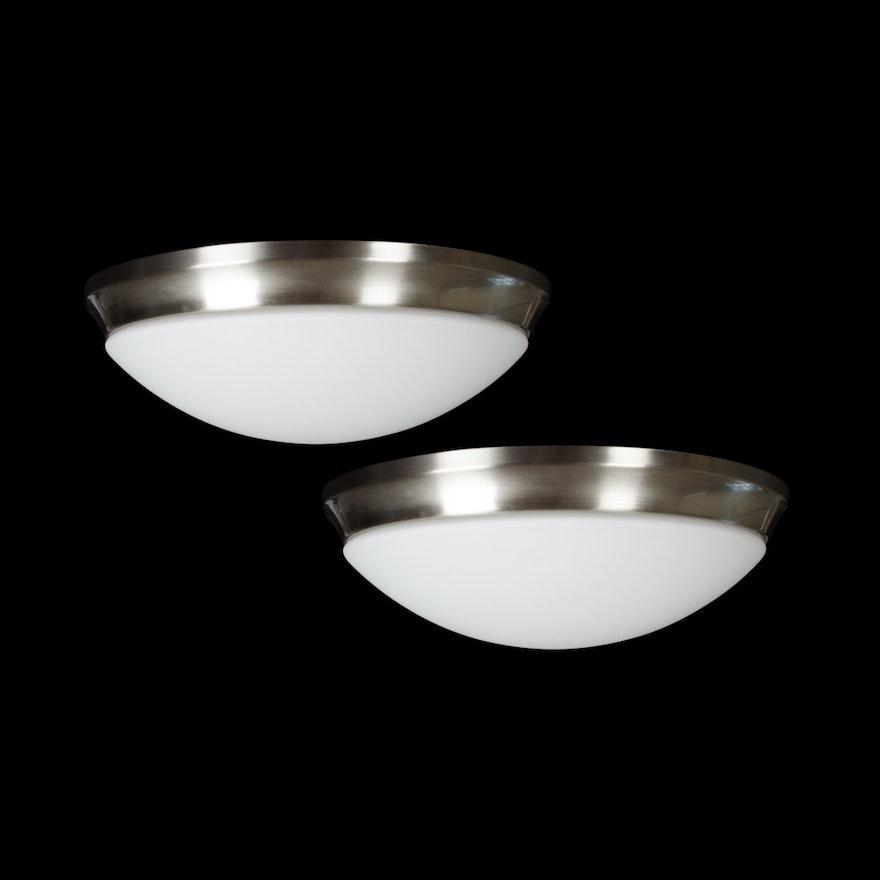 Pair of Intertek Dome Ceiling Lights